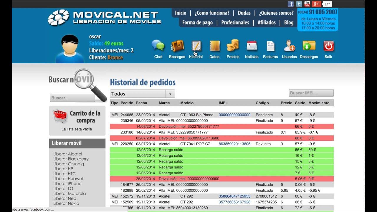 Liberar m vil para profesionales al mejor precio en movical net youtube - Movical net liberar ...