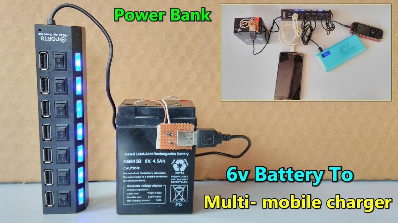 Diy Power Bank Ac 5v Usb Multi Mobile Charger From 6v Battery Big Power Bank