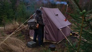 3 Days Winter Camṗing - Old school canvas wall tent, bushcraft base camp, snow blizzard, wood stove