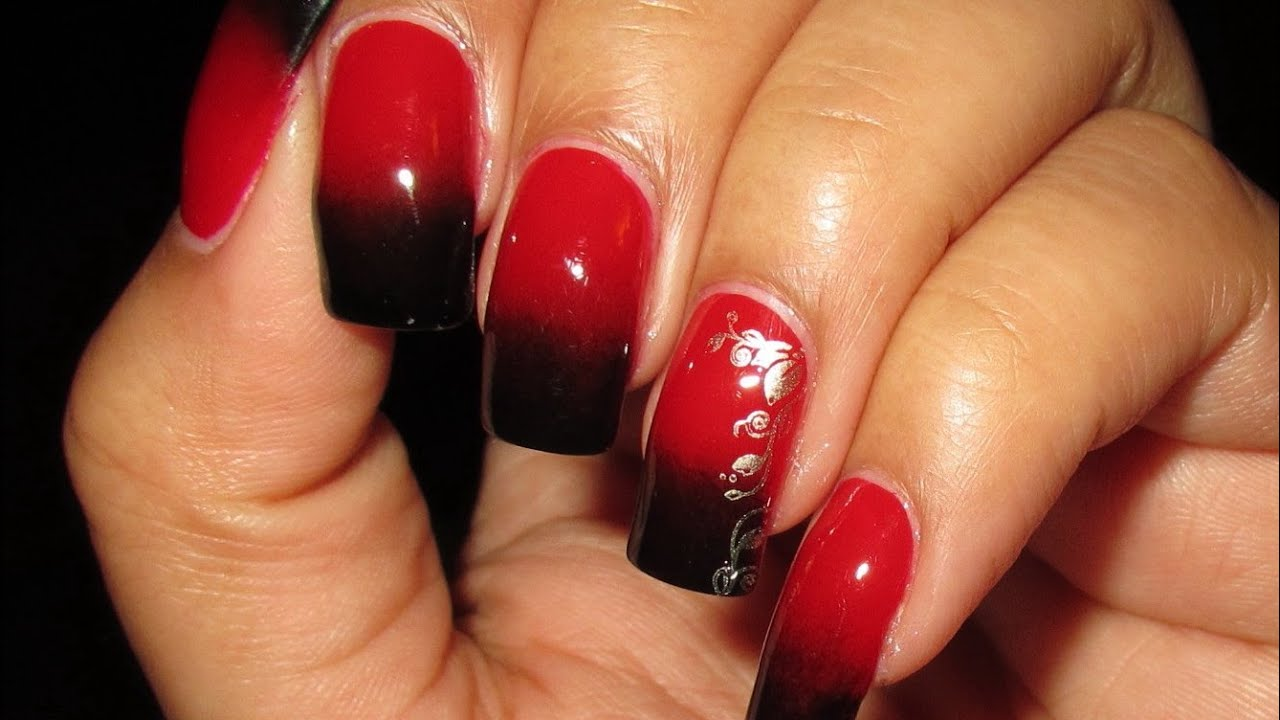 Black Red Gradient With Stamped Accent Nail Art April 2013 4
