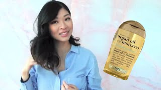 Argan Oil QUICK TIPS - A Natural Heat Protectant and Finishing Serum | Ft. OGX Moroccan Argan Oil