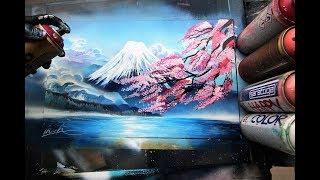 Fuji mount cherry blossom - SPRAY PAINT ART - by Skech