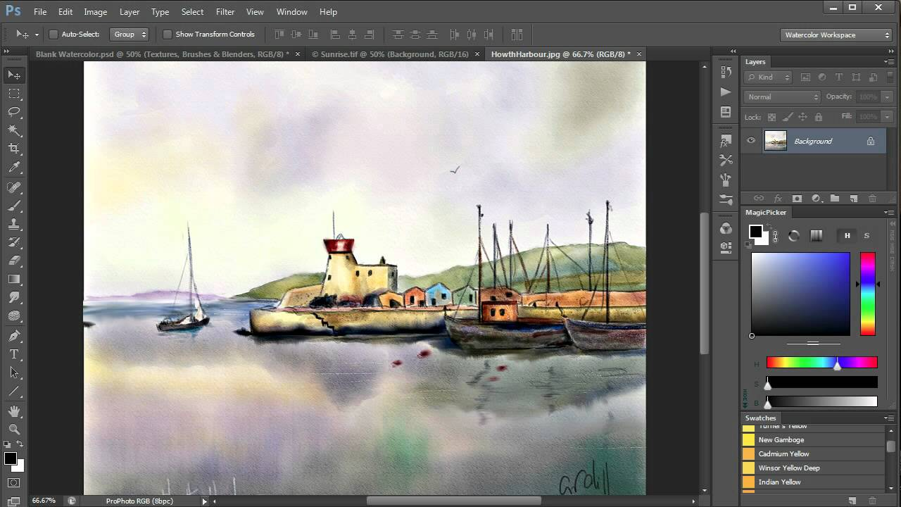 Watercolor art history brush - Watercolor Painting In Photoshop Including All Tools Brushes Papers Etc Video 1 Youtube