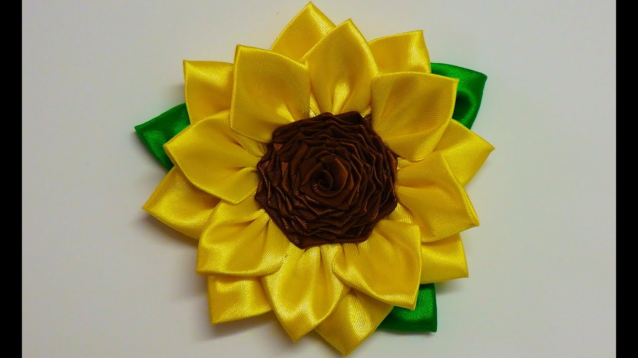 DIY Kanzashi Sunflower How To Make Kanzashi Flower Diy
