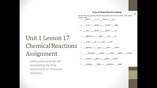 Science 10: Chemical Reactions Assignment