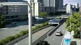 Chinos tienen un autobús que pasa por encima de los carros progreso de la tecnología