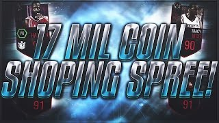 NBA Live Mobile 17 MILLION COIN SHOPPING SPREE! BIGGEST ON YOUTUBE!!!10 90+ PLAYERS!! 17 LEGENDS!!!