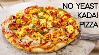 Kadhai Pizza Recipe Without Yeast - Veg Paneer Tikka Pizza in Kadai - CookingShooking