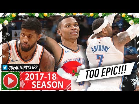 Russell Westbrook, Carmelo Anthony & Paul George BIG 3 Full Highlights vs Hawks (2017.12.22) - EPIC!