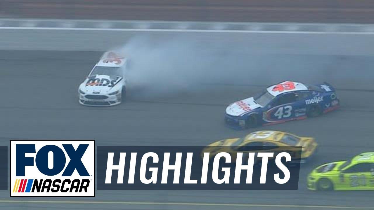 Bubba Wallace gets loose and spins David Ragan | 2018 MICHIGAN | FOX NASCAR