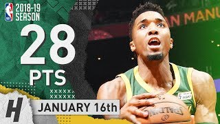 Donovan Mitchell Full Highlights Jazz vs Clippers 2019.01.16 - 28 Pts, 6 Ast, SICK!