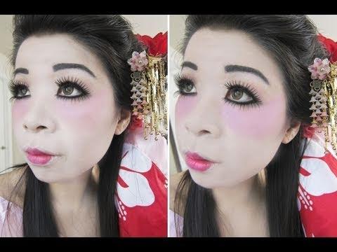 Halloween Makeup & Hair Tutorial: Modern Geisha Look - YouTube