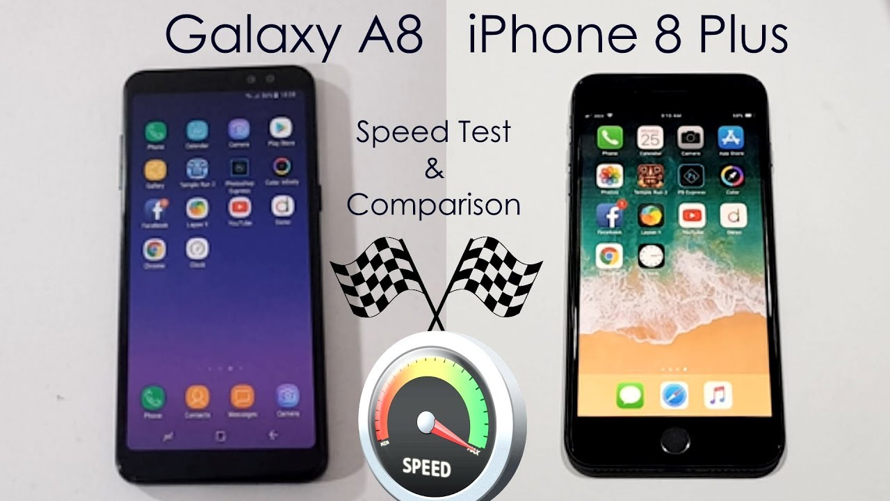 galaxy a8 2018 vs iphone 8 plus speed test comparison urdu hindi youtube. Black Bedroom Furniture Sets. Home Design Ideas