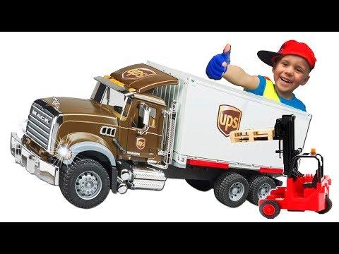 #Машинки Грузовик #BRUDER Погрузчик и Машинка Служба Доставки Видео для мальчиков