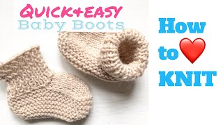 Quick and easy BABY BOOTS/ How to knit | TeoMakes