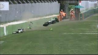 АВАРИЯ!!! Падение Никиты Калинина на гонке в WSBK Pata Italian Round