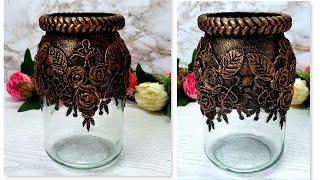 DIY/Decor recycled glass jar/Home decorating ideas handmade