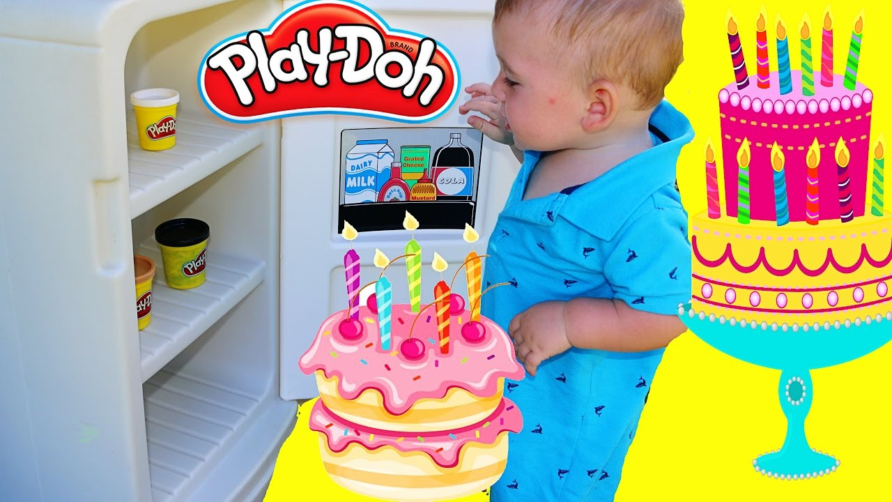 DIY Play Doh Cake Tutorial with Vintage Little Tikes Fridge - YouTube
