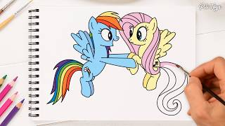 My Little Pony Coloring Book Pages Rainbow Dash & Fluttershy How To Draw and Color My Little Pony