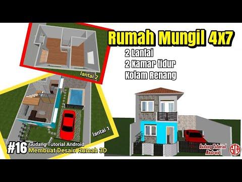 Desain 3D Rumah Super Mungil Minimalis 2 Lantai Ukuran 4x7 dilahan