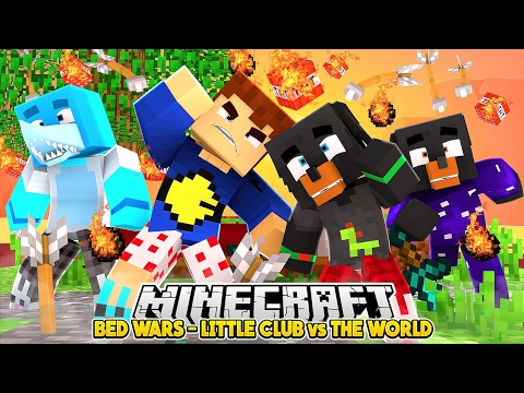 Minecraft Bed Wars - LITTLE CLUB vs THE WORLD - Baby Max, Sharky, Dount & Scuba - Hypixel mini game