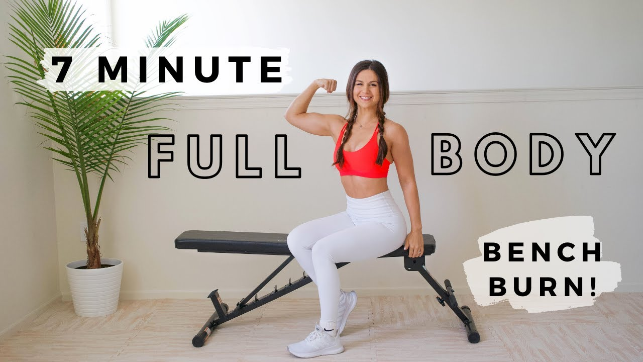 7 Minute Full Body Bench Burn Workout with Ashley Gaita - Home Bodyweight Exercise Fitness Routine
