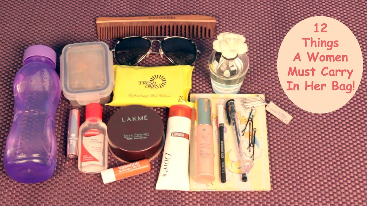 12 things a woman must carry in her bag youtube for Can you take jewelry in your carry on baggage
