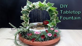 How to make tabletop Waterfall Fountain with mini garden