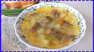 Суп из тушенки с картофелем и зеленым горошком