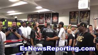 Floyd Mayweather In Ring As Adrien Broner & Shawn Porter Have A Run In