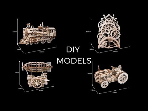 Wooden DIY Model Version Final Vintage Train, Airplane, Clock and Tractor