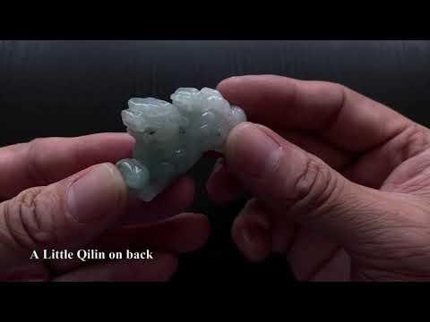 Icy Light Green Qilin Kylin Jade Ornaments