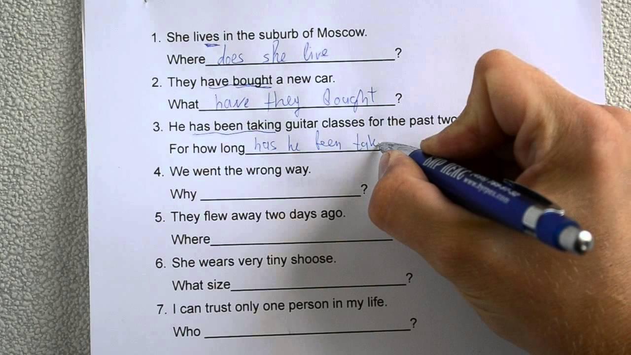 английский язык вопросительные предложения примеры