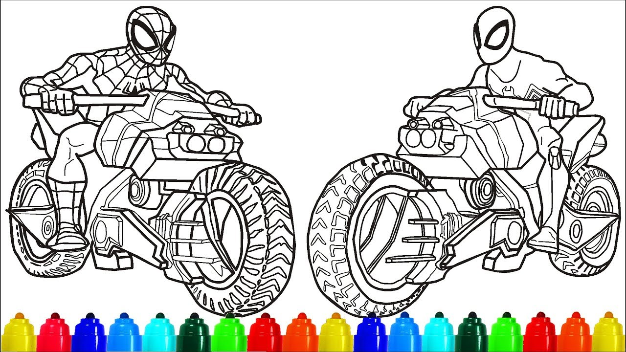 Spiderman black spiderman motorcycle coloring pages colouring pages for kids with colored markers