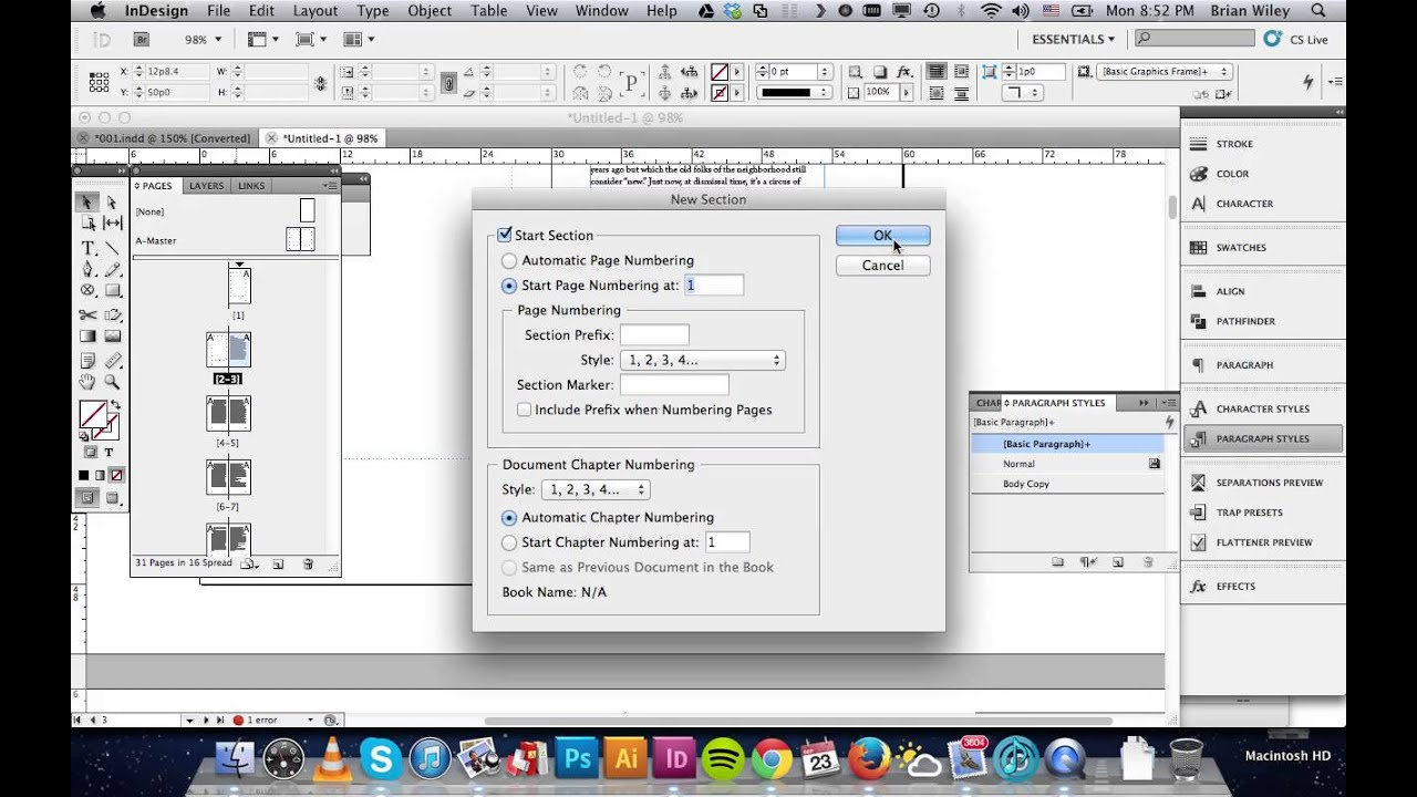 Indesign -- Numbering & Section Options