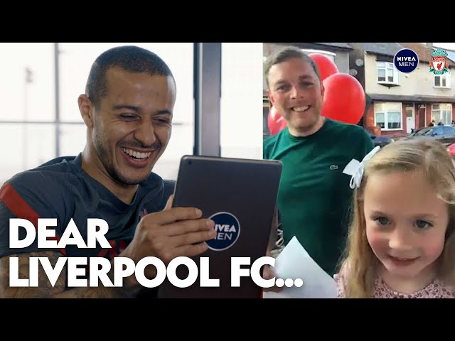 'He's a bit nervous!'   Thiago's amazing surprise for lifelong Liverpool fan after daughter's call