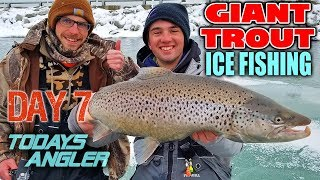 GIANT TROUT Ice Fishing 20 Day Challenge - CHICKEN WINGS!! - Day 7 - Todays Angler -