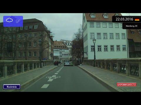 Driving through Nürnberg (Germany) from Altstadt - St Sebald to Sandreuth 22.03.2016 Timelapse x4