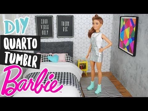 DIY DE PAPELÃO PARA BONECAS: Mini Quarto Tumblr Barbie e mini móveis / Doll house! #amigasyoutubers