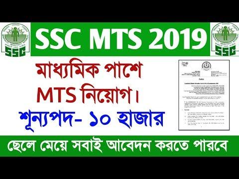SSC MTS 2019 full official notification bangla | Madhyamik pass job | SSC MTS 2019  details video