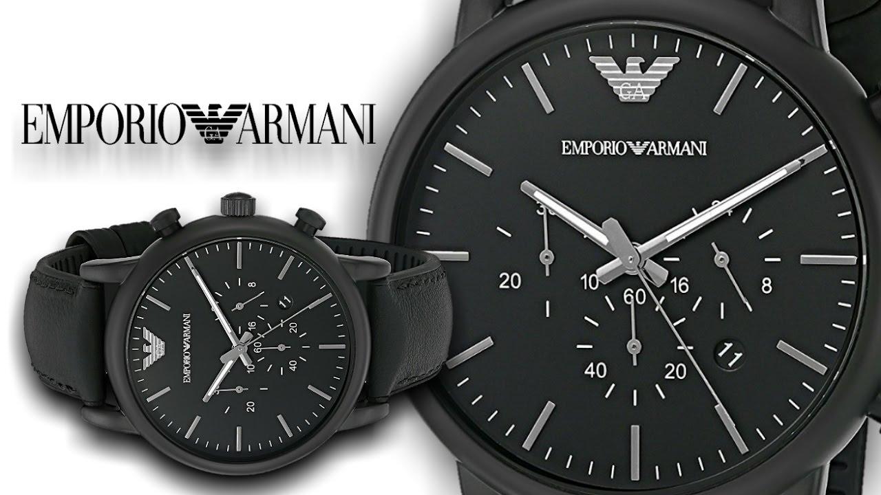 95ea7ce5f6fab Emporio Armani Men's AR1970 Dress Black Leather Watch - YouTube