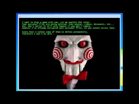 Jigsaw ransomware demand as presented to an unprotected end-user