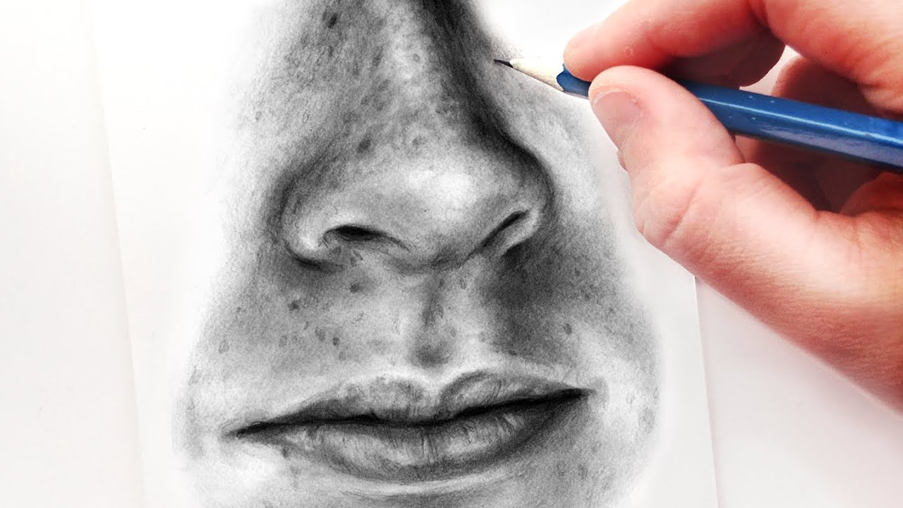 How to Draw a Nose and Mouth with Graphite Pencils ...
