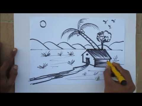 How to draw nature drawing in easy method by praveen d l youtube