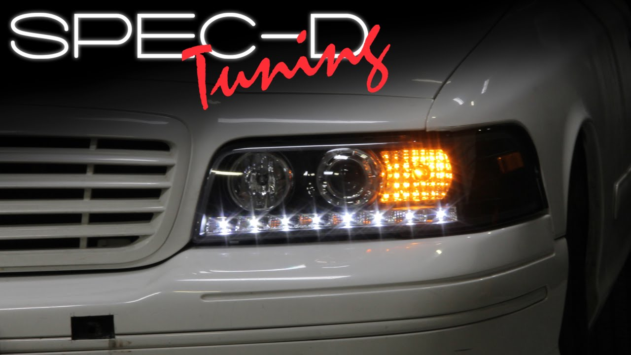 Specdtuning installation video 1999 2011 ford crown victoria led projector headlights