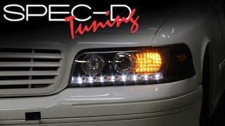 SPECDTUNING INSTALLATION VIDEO: 1999 - 2011 FORD CROWN VICTORIA LED PROJECTOR HEADLIGHTS