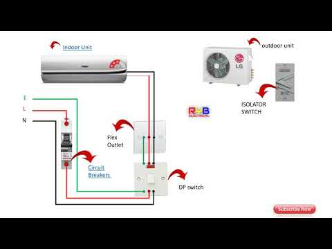 Single Phase split AC indoor outdoor wiring diagram RYB ELECTRICAL - YouTubeYouTube
