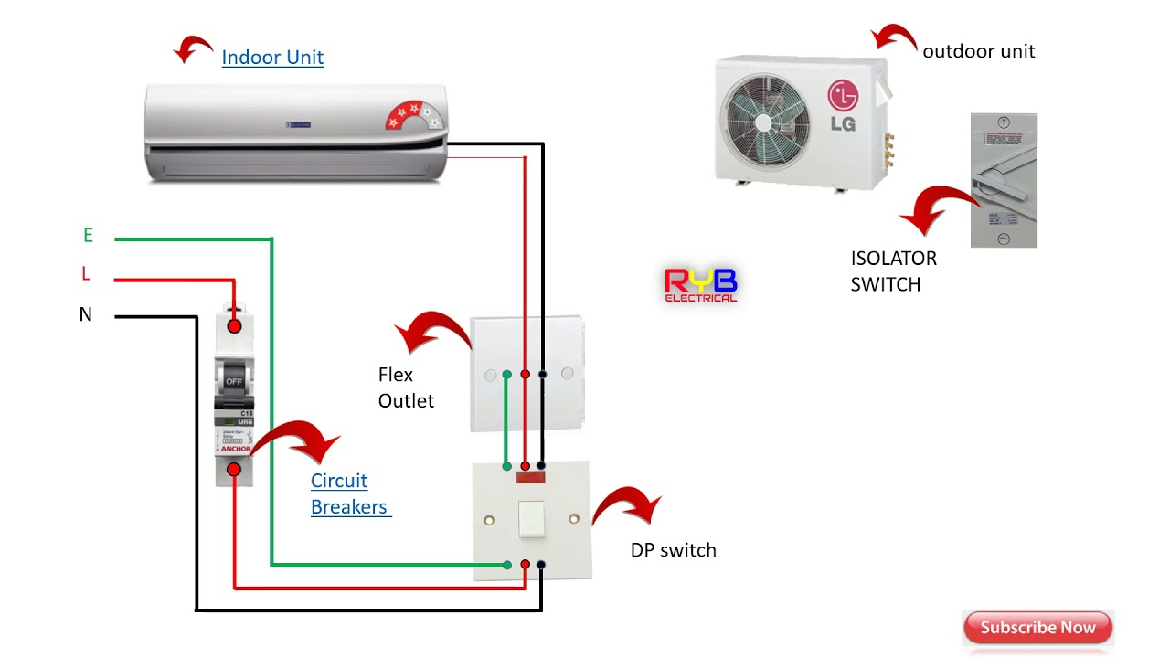 Single Phase split AC indoor outdoor wiring diagram RYB
