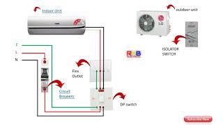 Single Phase split AC indoor outdoor wiring diagram RYB ELECTRICAL - YouTubeYouTube
