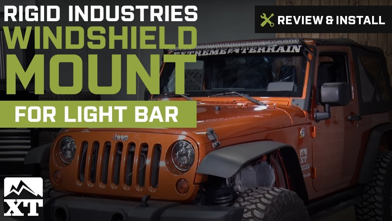 how to install a rigid industries windshield mount for 50 in led light bar on your jeep wrangler extremeterrain [ 1280 x 720 Pixel ]